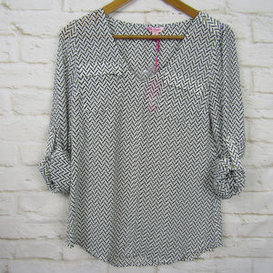 NWT Candies Herringbone Black & White Blouse Small